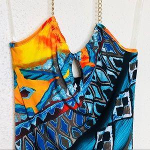 Maria & Kyndal's Dresses - Maria & Kyndal's Printed Chain Halter Maxi Dress